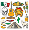 mexican cinco de mayo fiesta sketch icons vector image