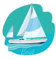 one-decked boat with sails vector image