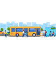 people at bus stop disabled passenger in vector image vector image