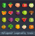 polygonal vegetable icons vector image vector image