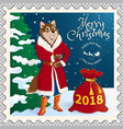 postage stamp with a dog vector image vector image