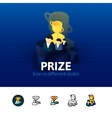 Prize icon in different style vector image