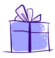 purple gift drawing on white background vector image vector image