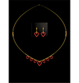 Red heart necklace set vector image vector image