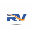 RV company linked letter logo vector image vector image