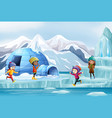 scene with many kids playing on ice vector image