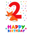 second birthday cartoon greeting card design vector image vector image