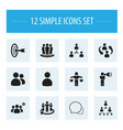 set of 12 editable community icons includes vector image vector image