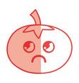 silhouette kawaii cute sad tomato vegetable vector image vector image