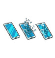 smartphone whole cracked glass and phone is vector image