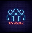 teamwork neon sign team work banner with neon vector image vector image