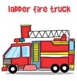 Transport of ladder fire truck cartoon vector image