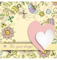 two hearts on a background of floral patterns vector image vector image