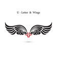 u-letter sign and angel wingsmonogram wing logo vector image