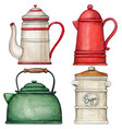 watercolor vintage kettle and coffee and tea pots vector image vector image