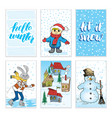 winter cards hand drawn sketch doodles and vector image