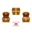 wooden treasure chest skull cross bones vector image vector image