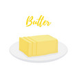 yellow butter bar with slices on plate vector image vector image