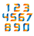 3d Number set logo with speed orange and blue vector image vector image