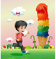 A boy running in the candyland vector image