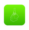 a hand holding shopping bags icon green vector image vector image