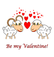 A sheep and a ram in love vector image vector image