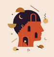 abstract human head with stairs doors geometric vector image vector image