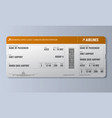 airline boarding pass or air ticket design vector image