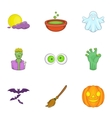 All hallows evening icons set cartoon style vector image vector image