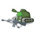 army tank character cartoon style vector image