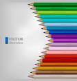 arrow shape of rainbow colored pencils on white vector image vector image