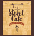 banner for street cafe on background of old house vector image vector image