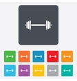 Barbell sign icon Muscle lifting symbol vector image vector image