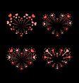beautiful heart-fireworks set bright romantic vector image