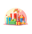big mountain bright colorful wrapped gift boxes vector image