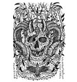 black and white engraved scary devil or demon vector image