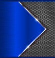 blue metal perforated background with perforation vector image vector image