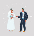 bride and groom at wedding vector image