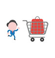 businessman running with shopping bag inside vector image vector image
