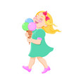 Cartoon girl eating ice cream