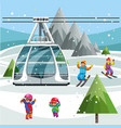 cartoon parents and little kids skiing together vector image vector image
