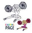 coloring page with woman cheerleader cartoon vector image vector image