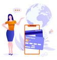 concept mobile money transfers around world vector image