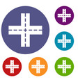 crossing road icons set vector image vector image