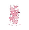 cute and kawaii valetine greeting card with vector image vector image
