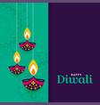 decorative happy diwali diya lamps background vector image vector image