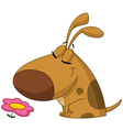 dog smelling flower vector image