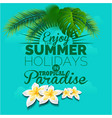 enjoy the summer in tropical paradise blue backgro vector image