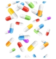 Falling Pills Color Capsules Background vector image vector image