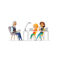 family of programmers happy girl and parents vector image vector image